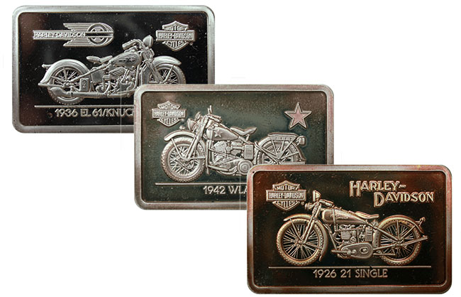 Official Harley Davidson 90th Anniversary Vintage Silver Art Bars with COA