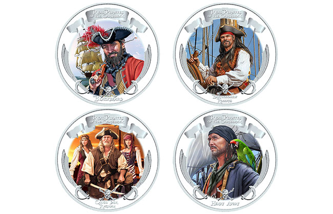 Real Pirates of the Caribbean Silver Coin Set