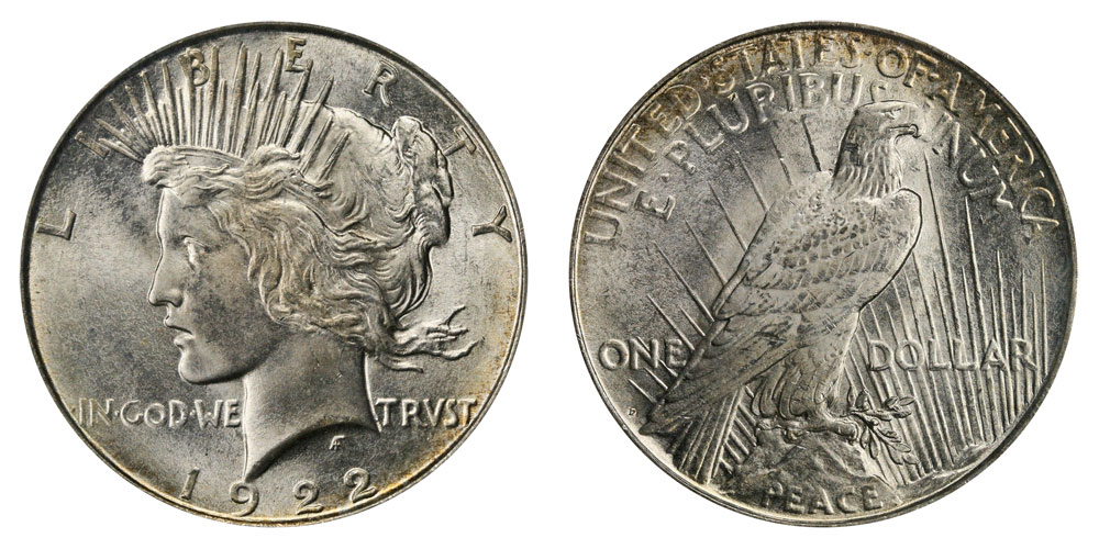 Almost Uncirculated 1922 Peace Dollar