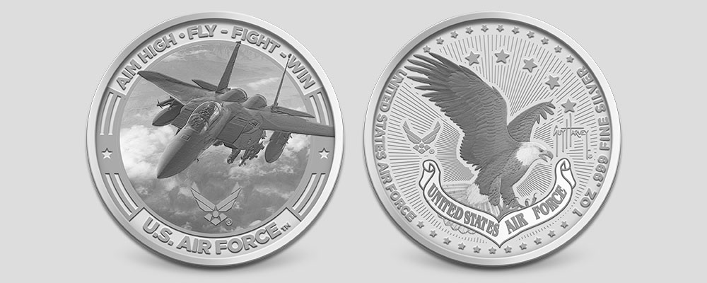 1 oz Guy Harvey Air Force Silver Round