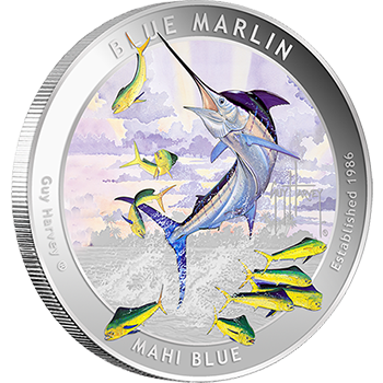 Guy Harvey Blue Marlin Silver Colorized Rounds