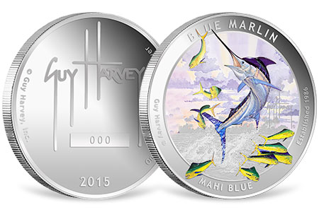 Blue Marlin Proof Colorized Silver Round