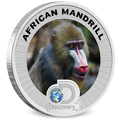 2016 Discovery Channel Africa Silver Coin Mandrill