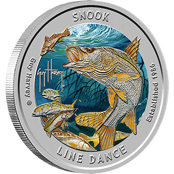 Guy Harvey Snook Silver Colorized Rounds