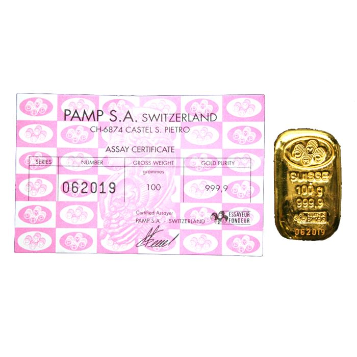 100 gram Gold Bar Poured PAMP Suisse 999.9 Fine with Assay