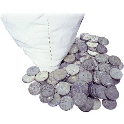 A bag of US pre-1965 90% 'junk silver' silver coins