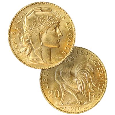 gold french franc rooster gold