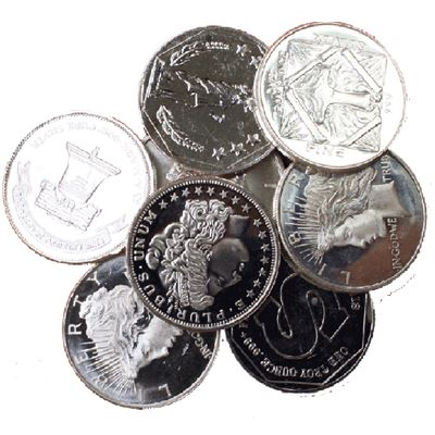 silver round various designs pure