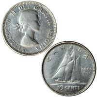 elizabeth canadian silver cents coin