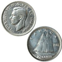 george canadian silver cents coin