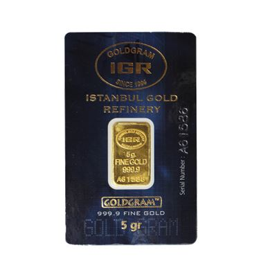 gram gold bar assay card