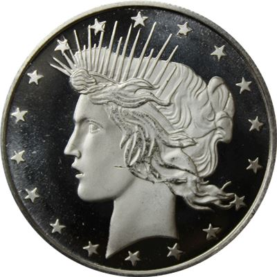 silver round peace dollar design