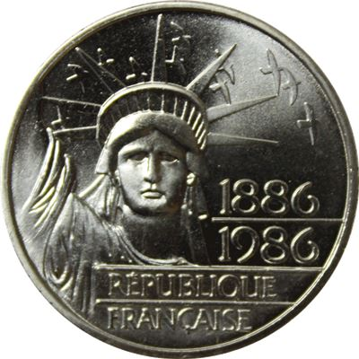 france franc silver statue liberty
