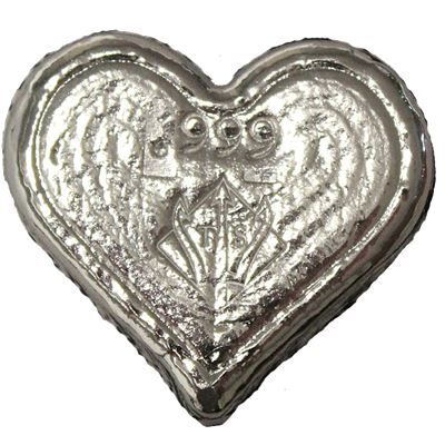 poured silver heart trident silver