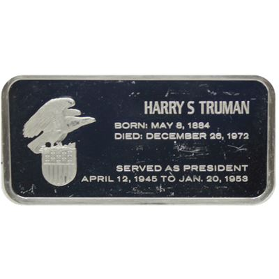harry truman proof sterling silver