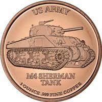 army sherman tank copper round