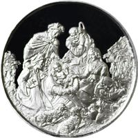 nativity scene merry christmas silver