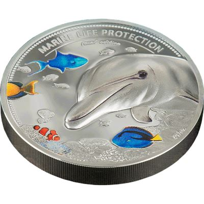 dolphin and seahorse coin proof