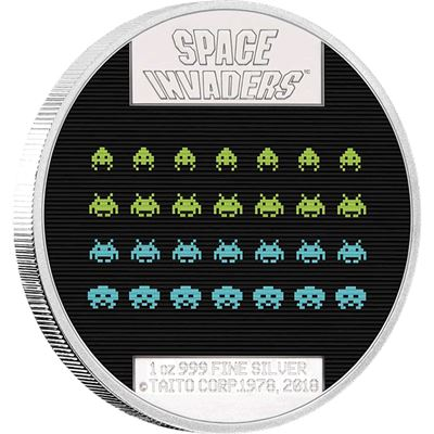 space invaders silver coin niue