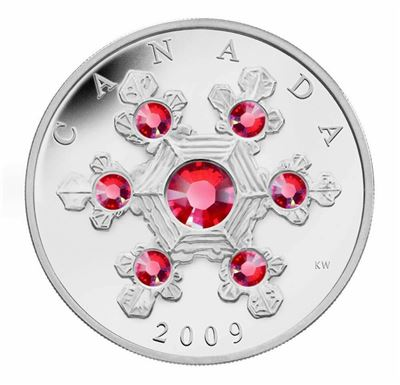 canada holiday snowflake proof silver