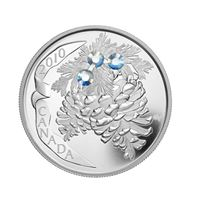 canada holiday pinecone proof silver