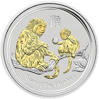 perth mint silver monkey gilded